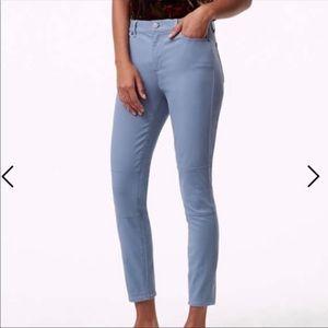 Ann Taylor Loft Pale Blue Sateen Zipper Leggings